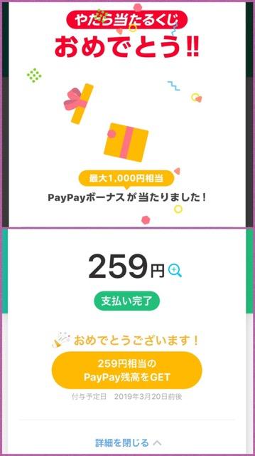 当たると嬉しい、PayPayやたら当たるくじ(2019-02)